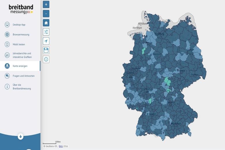 Карта покрытия мобильной сети пятого поколения в Германии от Breitbandmessung фото