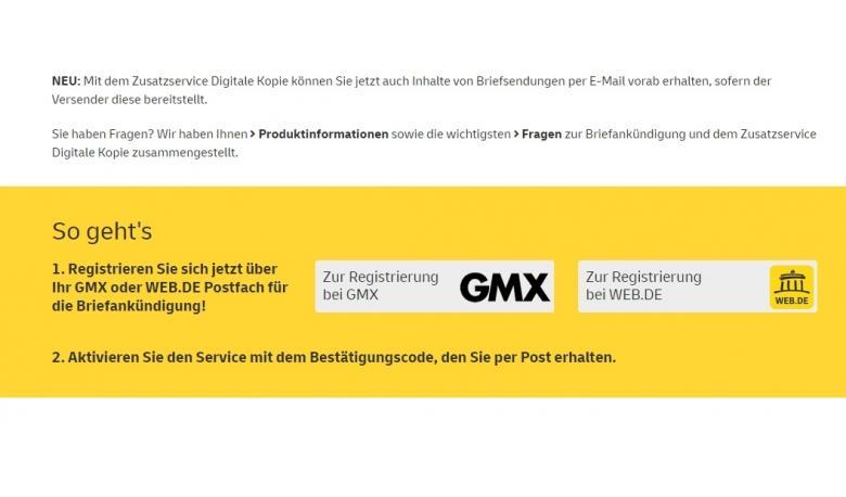 Так выглядят кнопки регистрации на услугу Digitale Kopie на сайте Deutsche Post.