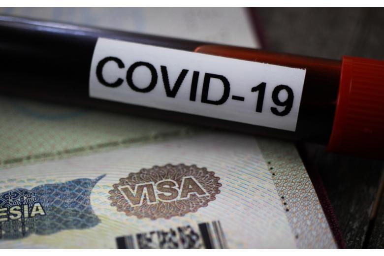виза и пробирка с надписью COVID-19 фото