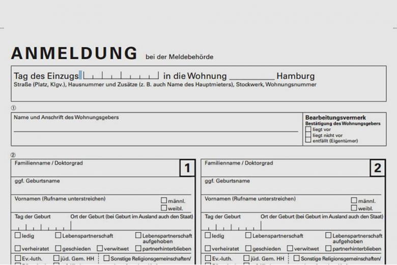 Образец анкеты на получение прописки в Германии