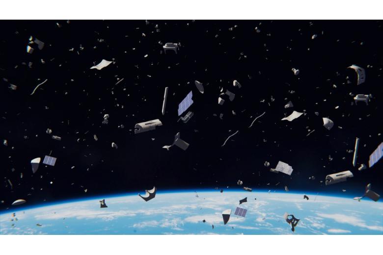 падение обломков ракеты в космосе