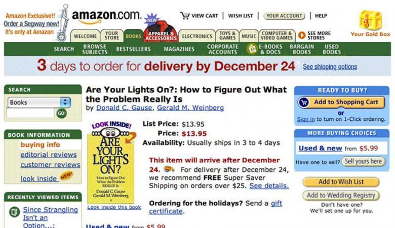 Одна из первых версий интернет-магазина Амазон. Скриншот: amazon.com