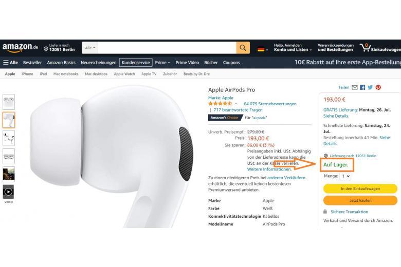 Указание на наличие товара в современном маркетплейсе Амазон. Скриншот: amazon.de