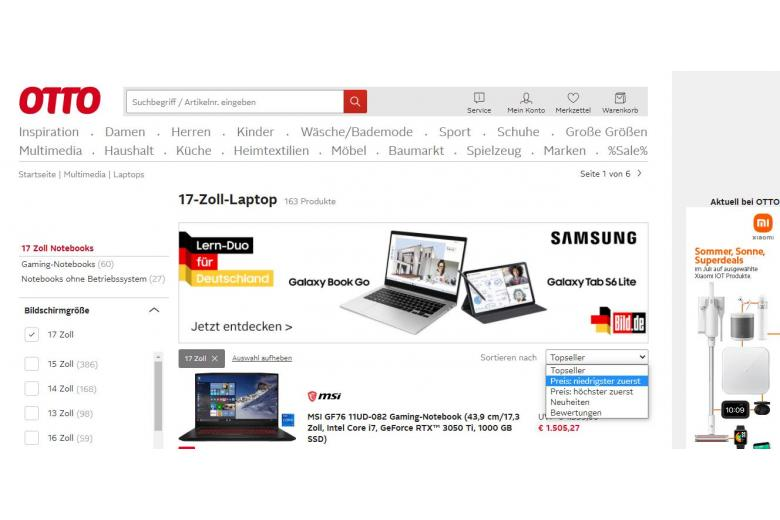 Фильтры в каталоге интернет-магазина Отто. Скриншот: otto.de