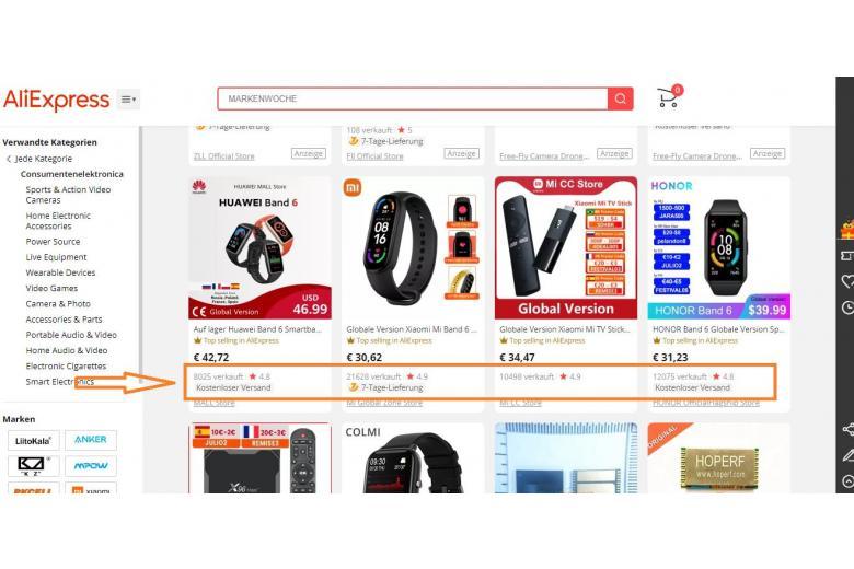 Рейтинг товаров на сайте Алиэкспрес.