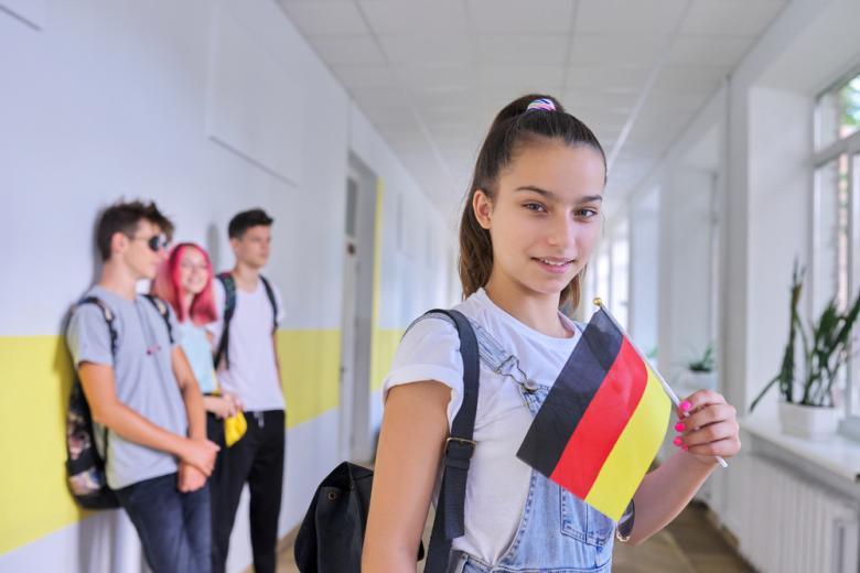 немецкие школьники держат национальные флаги Фото: VH-studio/shutterstock.com
