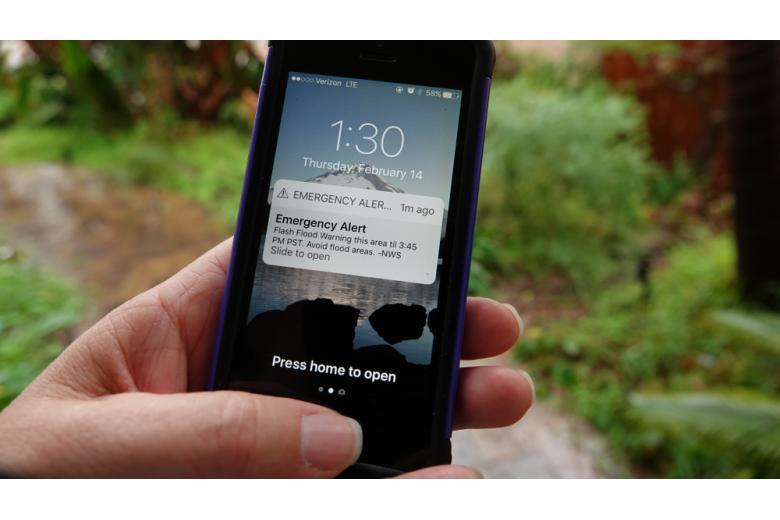 SMS-оповещение о наводнении Фото: Simone Hogan/shutterstock.com
