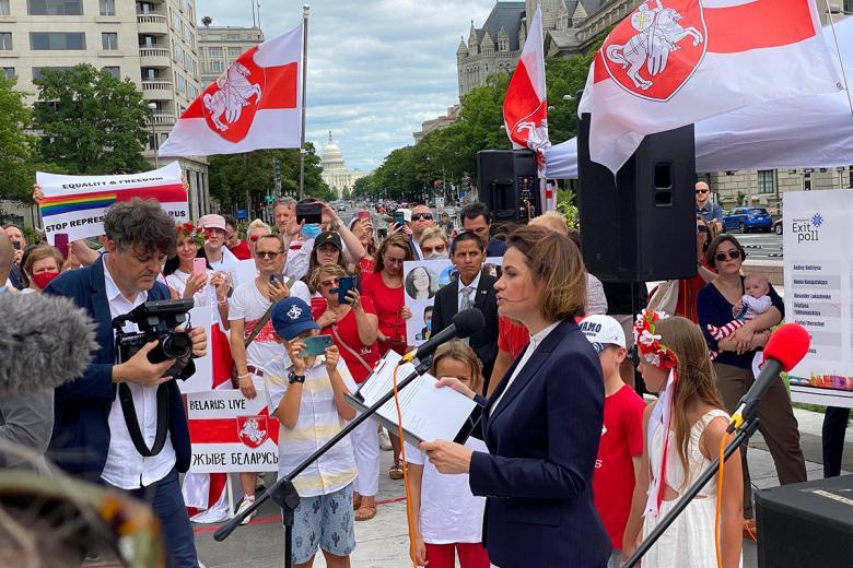 Светлана Тихановская в Вашингтоне. Фото: Aussiedlerbote.de