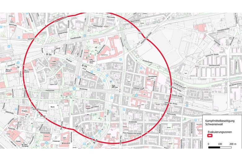 Эвакуация в Дортмунде возможна в пределах этого радиуса. Скриншот: Stadt Dortmund