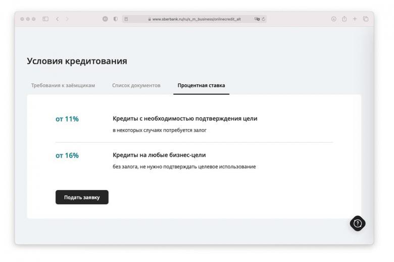 Описание процентной ставки на сайте Сбербанка России. Скриншот: sberbank.ru
