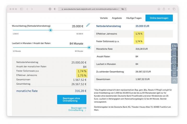 Описание процентной ставки на сайте Deutsche-bank. Скриншот: deutsche-bank.de
