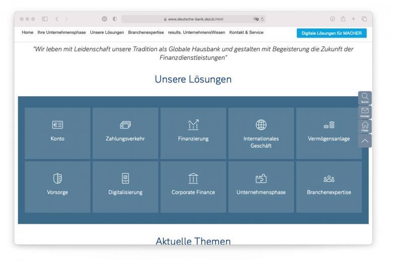 Варианты решений для бизнеса от Deutsche-bank.de. Скриншот: deutsche-bank.de