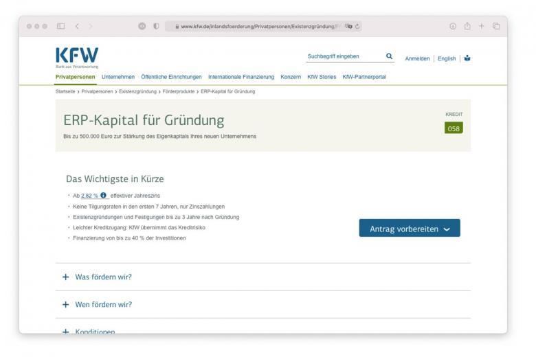 Описание процентной ставки на сайте банка KFW. Скриншот: kfw.de