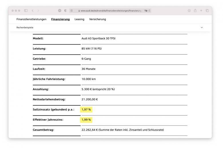 Процентная ставка по кредиту на покупку автомобиля Ауди А3. Скриншот audi.de