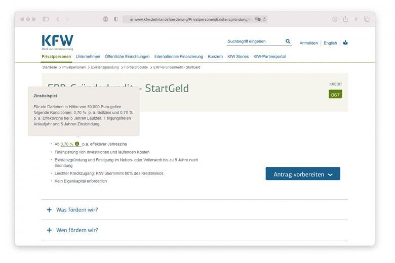 Описание процентной ставки на сайте немецкого банка KFW. Скриншот: kfw.de