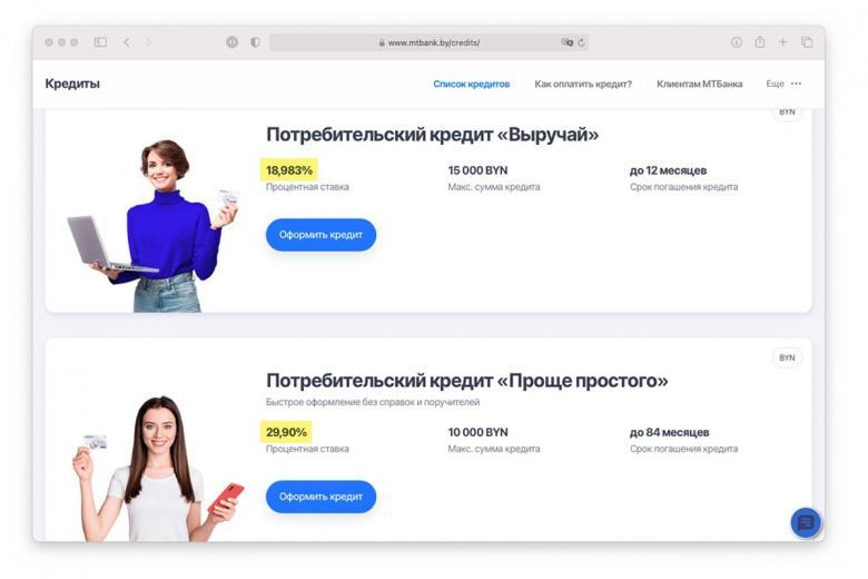 Описание процентной ставки на сайте Минского транзитного банка. Скриншот: mtbank.by