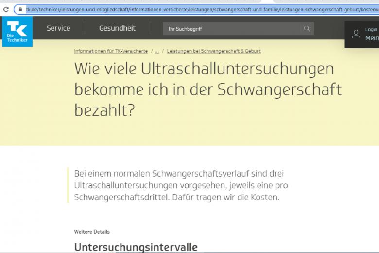 Информация об услугах страховой. Скриншот: tk.de