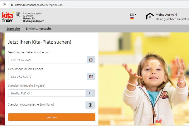 Онлайн- регистрация в детский сад Германии. Скриншот kitafinder.muenchen.de