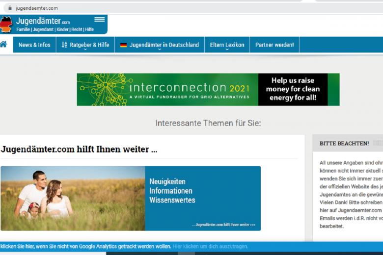 Отдел по делам молодежи окажет помощь в выборе. Скриншот: Jugendamter.com