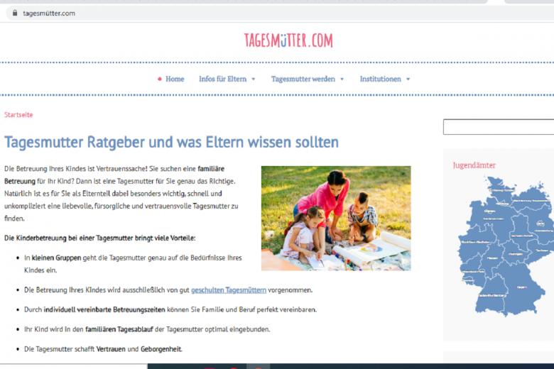 Поиск няни для ребенка в Германии. Скриншот: tagesmutter.com
