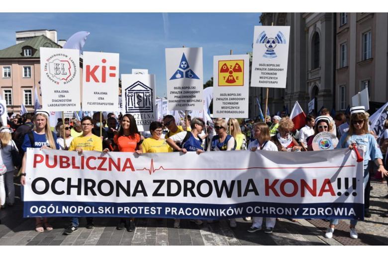 Протест медработников в Польше. Фото: Twitter