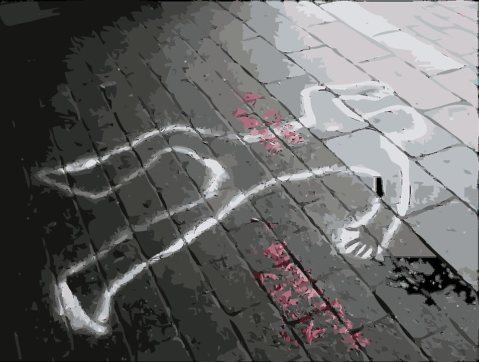 обведенное мелом очертание человека на асфальте фото